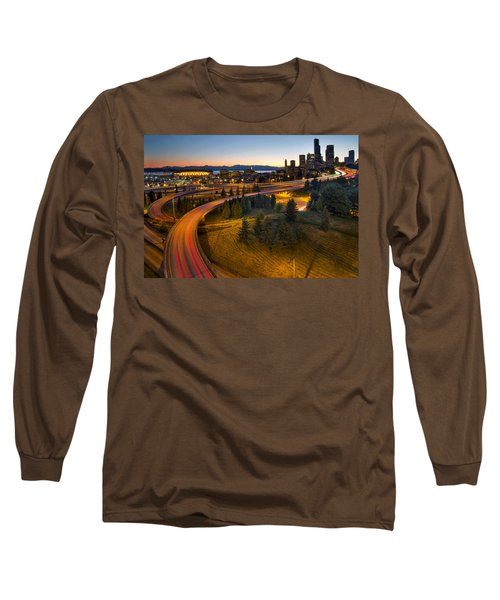 Long Sleeve T-Shirt featuring the photograph Seattle Downtown Highway Traffic Light Trails by JPLDesigns