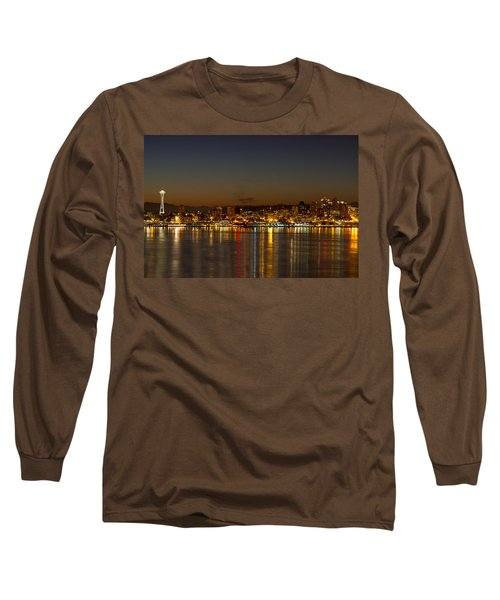 Long Sleeve T-Shirt featuring the photograph Seattle Downtown Skyline Reflection At Dawn by JPLDesigns