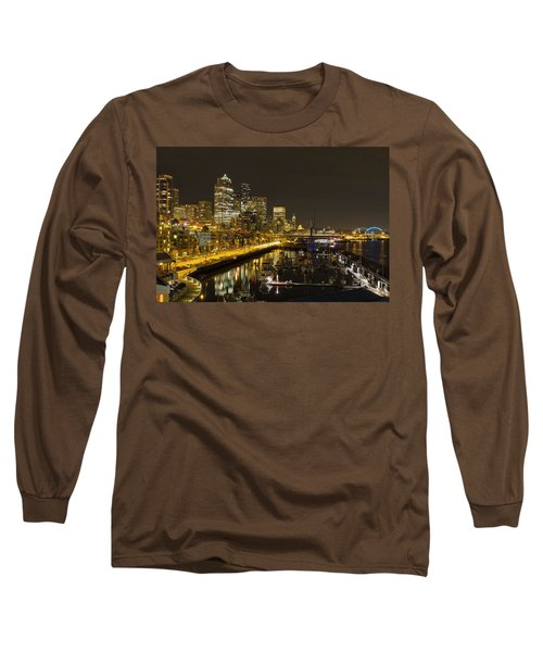 Long Sleeve T-Shirt featuring the photograph Seattle Downtown Waterfront Skyline At Night Reflection by JPLDesigns