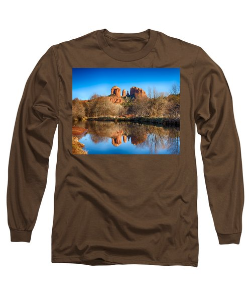 Sedona Winter Reflections Long Sleeve T-Shirt by Fred Larson