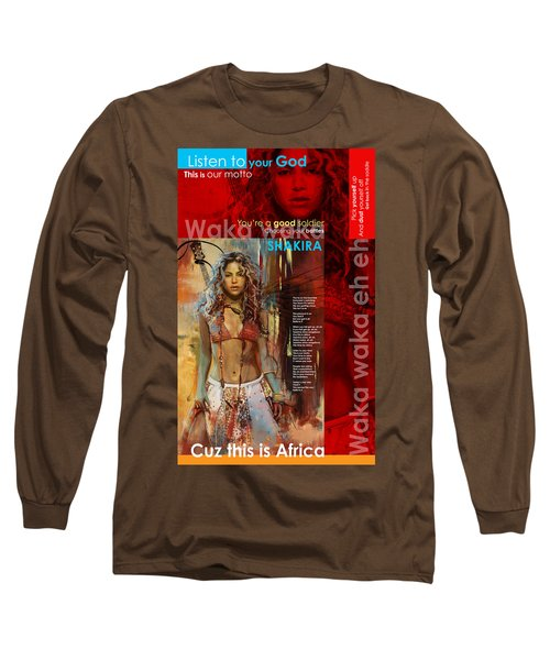 Shakira Art Poster Long Sleeve T-Shirt by Corporate Art Task Force