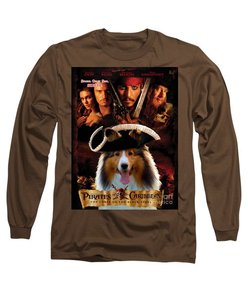 Sheltie - Shetland Sheepdog Art Canvas Print - Pirates Of The Caribbean The Curse Of The Black Pearl Long Sleeve T-Shirt