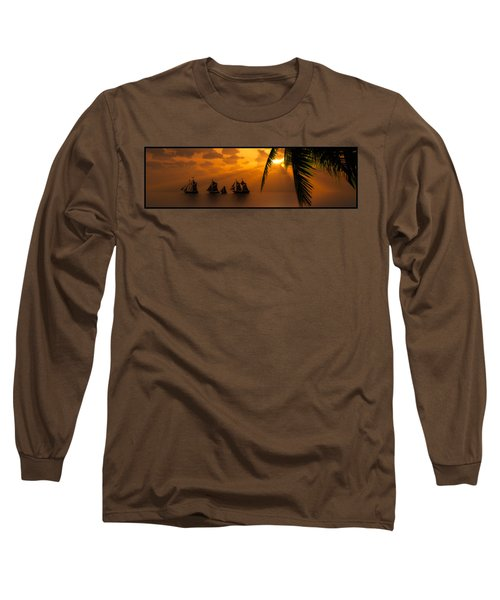 Ships And The Golden Dawn... Long Sleeve T-Shirt by Tim Fillingim