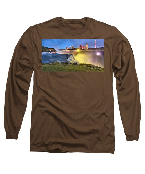 Silky Niagara Falls Panoramic Sunset Long Sleeve T-Shirt