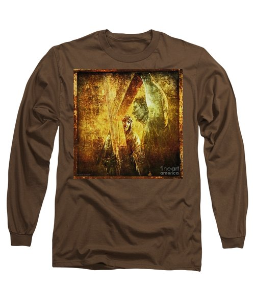 Simon Helps Jesus Via Dolorosa 5 Long Sleeve T-Shirt by Lianne Schneider