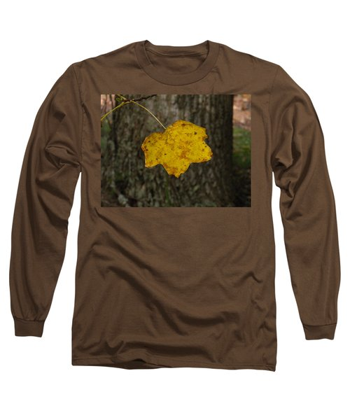 Long Sleeve T-Shirt featuring the photograph Single Poplar Leaf by Nick Kirby