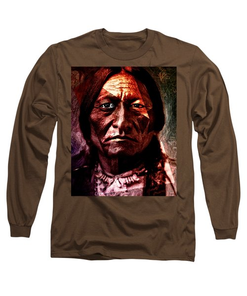 Sitting Bull - Warrior - Medicine Man Long Sleeve T-Shirt by Hartmut Jager