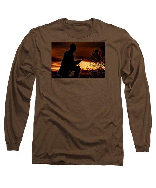 Long Sleeve T-Shirt featuring the photograph Sky Fire - 1st Pa Cavalry Regiment-a1 Cemetery Ridge Near Copse Of Trees Dawn Autumn Gettysburg by Michael Mazaika