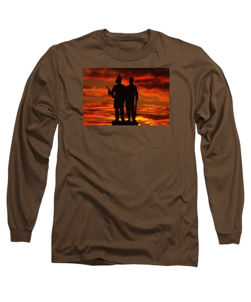 Long Sleeve T-Shirt featuring the photograph Sky Fire - 73rd Ny Infantry Fourth Excelsior Second Fire Zouaves-a1 Sunrise Autumn Gettysburg by Michael Mazaika