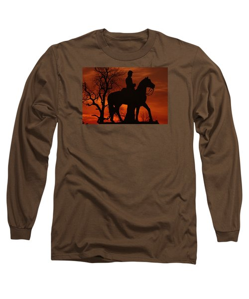Long Sleeve T-Shirt featuring the photograph Sky Fire - 8th Pennsylvania Cavalry Regiment Pleasonton Avenue Sunset Autumn Gettysburg by Michael Mazaika