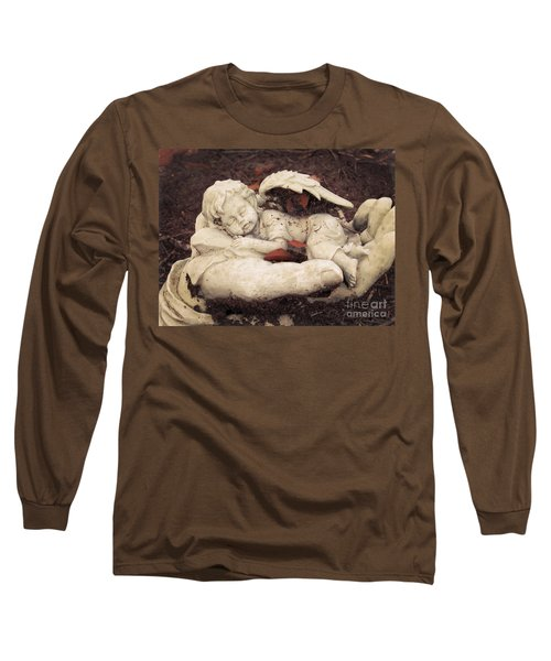 Long Sleeve T-Shirt featuring the photograph Baby Angel Sleeping In Gods Hands by Ella Kaye Dickey