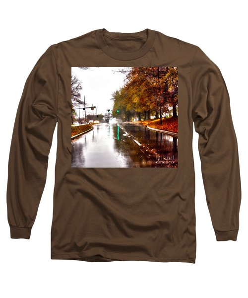 Long Sleeve T-Shirt featuring the photograph Slick Streets Rainy View by Lesa Fine