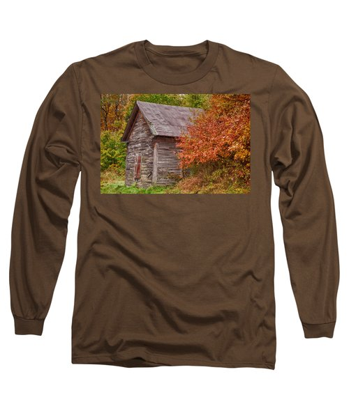 Long Sleeve T-Shirt featuring the photograph Small Wooden Shack In The Autumn Colors by Jeff Folger
