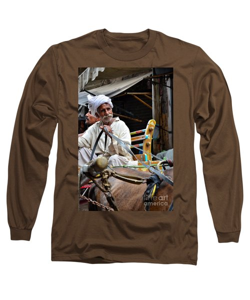 Smiling Man Drives Horse Carriage In Lahore Pakistan Long Sleeve T-Shirt