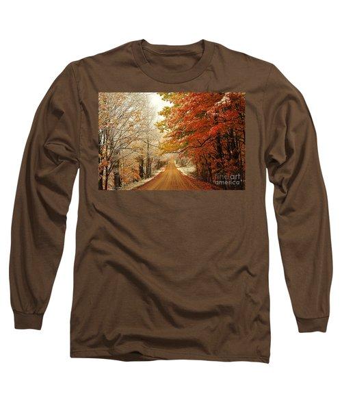 Snowy Autumn Road Long Sleeve T-Shirt