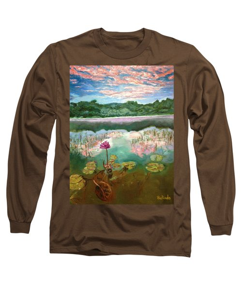 Long Sleeve T-Shirt featuring the painting Solitary Bloom by Belinda Low