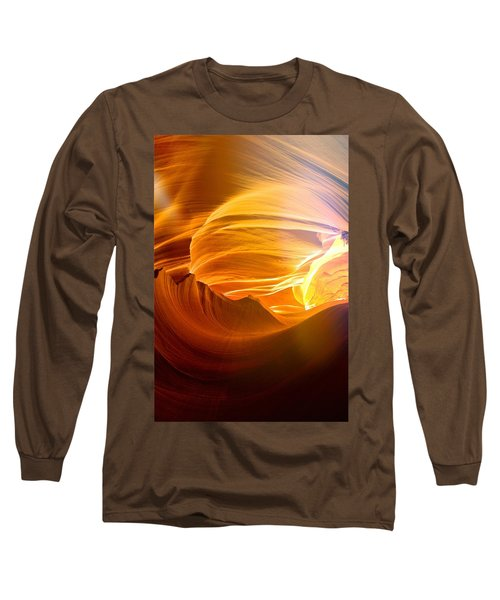Long Sleeve T-Shirt featuring the photograph Somewhere In America Series - Gold Colors In Antelope Canyon by Lilia D
