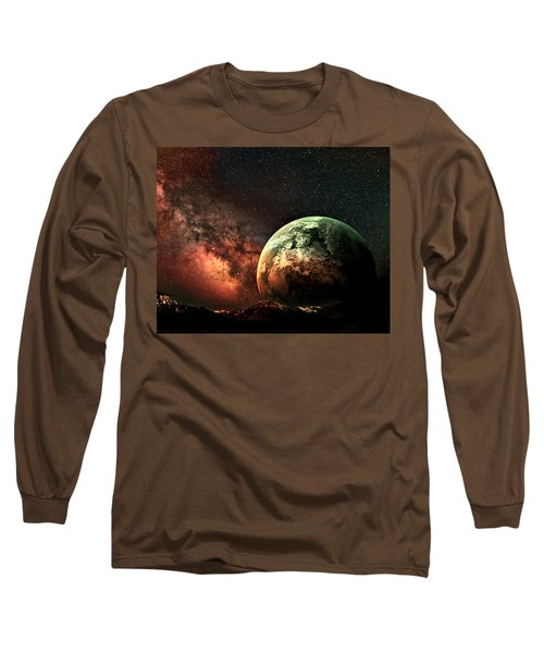Spaced Out Long Sleeve T-Shirt by Ally  White