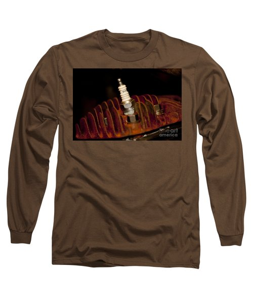 Long Sleeve T-Shirt featuring the photograph Sparkplug And Rusty Cooling Fins by Wilma  Birdwell