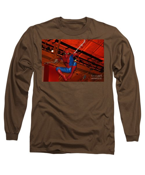 Spiderman Swinging Through The Air Long Sleeve T-Shirt