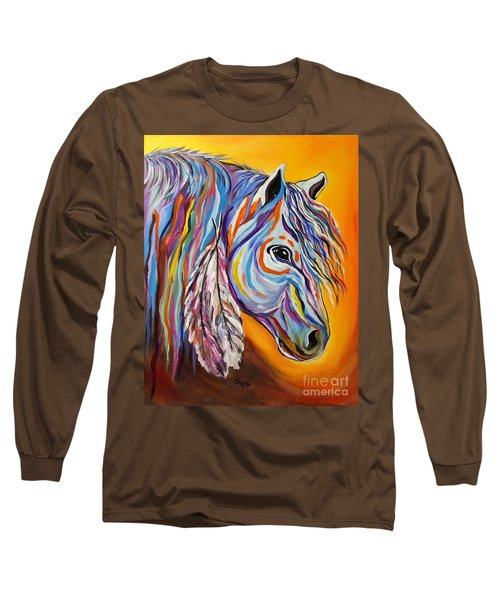 Long Sleeve T-Shirt featuring the painting 'spirit' War Horse by Janice Rae Pariza