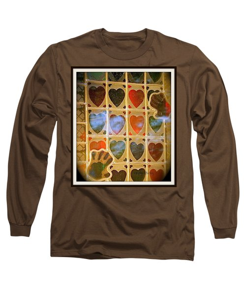 Long Sleeve T-Shirt featuring the photograph Stained Glass Hands And Hearts by Kathy Barney