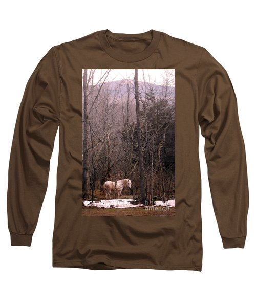 Stallion In The Mountain Pasture Long Sleeve T-Shirt by Patricia Keller