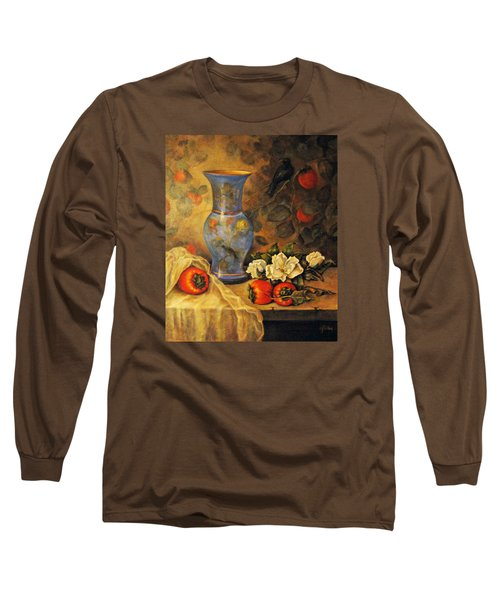 Long Sleeve T-Shirt featuring the painting Still Life Of Persimmons  by Donna Tucker