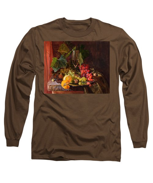 Still-life With A Glass Of Wine And Grapes Long Sleeve T-Shirt