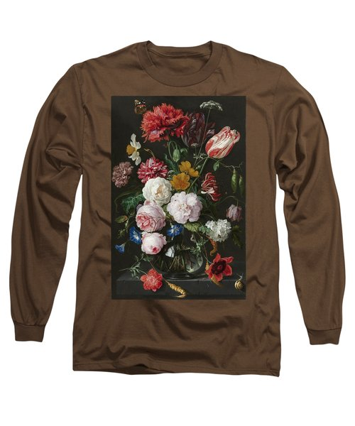 Still Life With Flowers In Glass Vase Long Sleeve T-Shirt