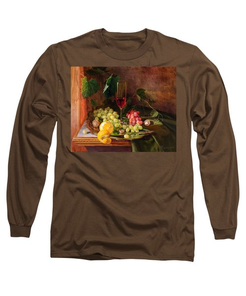 Still Life With Grapes And Grapevine Long Sleeve T-Shirt
