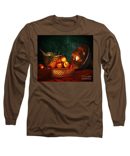 Long Sleeve T-Shirt featuring the digital art Still Life With Peaches And Copper Bowl by Lianne Schneider