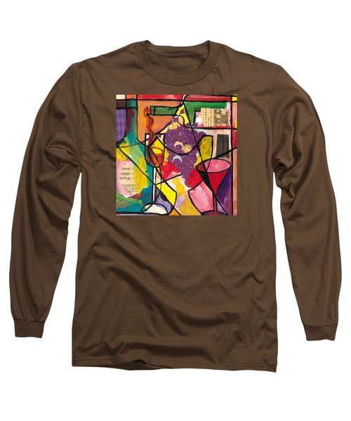 Still Life With Wine And Fruit B Long Sleeve T-Shirt by Everett Spruill