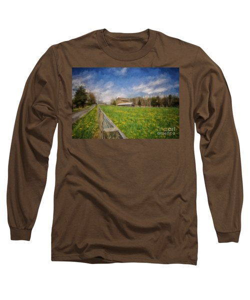 Stone Barn On A Spring Morning Long Sleeve T-Shirt by Lois Bryan