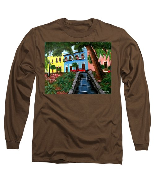 Street Hill In Old San Juan Long Sleeve T-Shirt by Luis F Rodriguez
