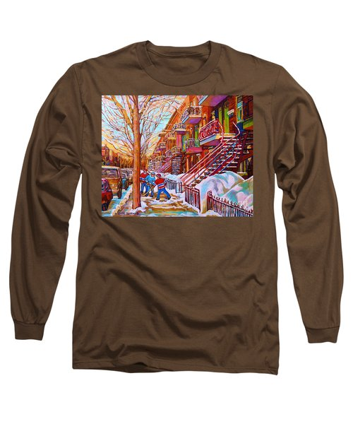 Street Hockey Game In Montreal Winter Scene With Winding Staircases Painting By Carole Spandau Long Sleeve T-Shirt