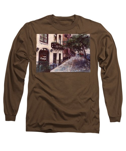 street in the Village NYC Long Sleeve T-Shirt by Walter Casaravilla