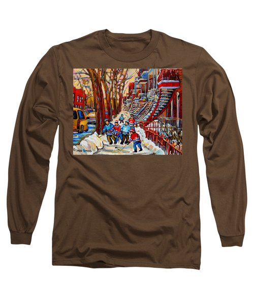 Streets Of Verdun Hockey Art Montreal Street Scene With Outdoor Winding Staircases Long Sleeve T-Shirt