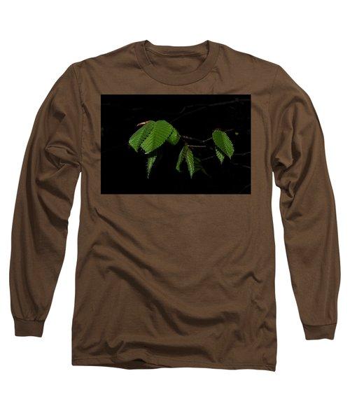 Summer Leaves On Black Long Sleeve T-Shirt