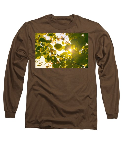 Long Sleeve T-Shirt featuring the photograph Sun Shining Through Leaves by Chevy Fleet