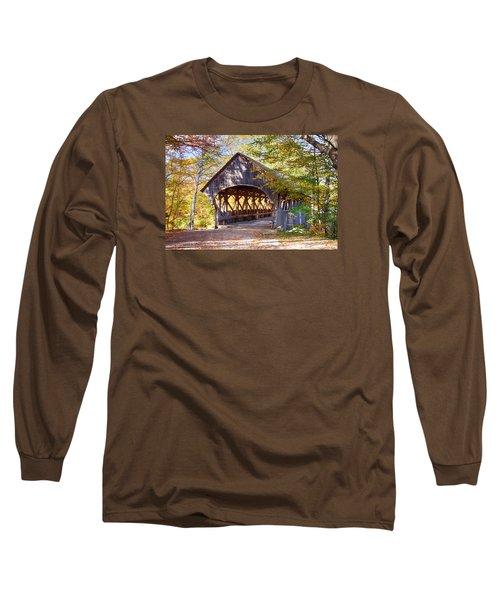 Sunday River Covered Bridge Long Sleeve T-Shirt by Jeff Folger