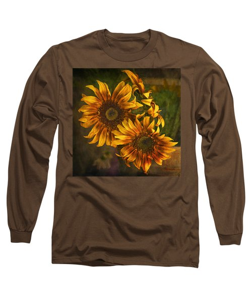 Long Sleeve T-Shirt featuring the photograph Sunflower Trio by Priscilla Burgers