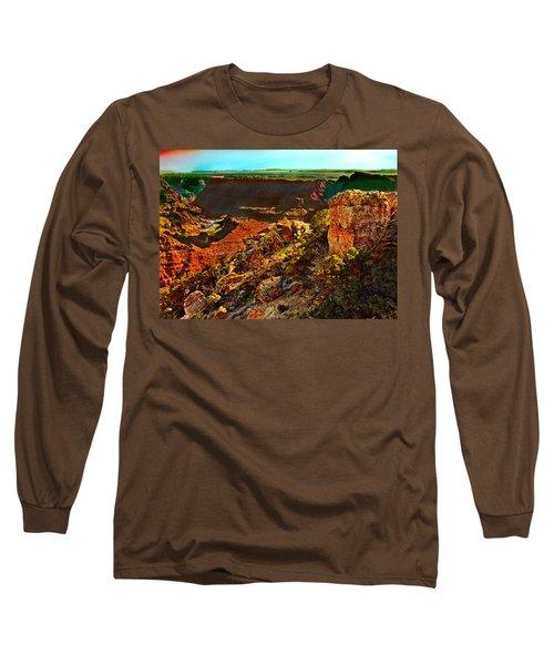 Sunrise Lipan Point Grand Canyon Long Sleeve T-Shirt by Bob and Nadine Johnston