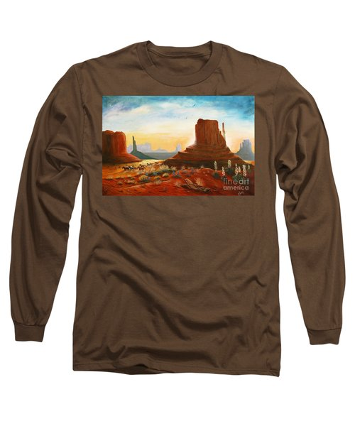Sunrise Stampede Long Sleeve T-Shirt by Marilyn Smith