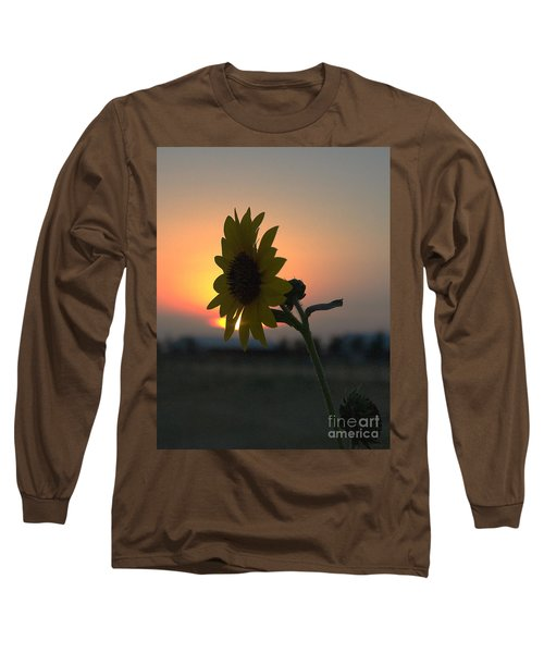 Long Sleeve T-Shirt featuring the photograph Sunset And Sunflower by Mae Wertz
