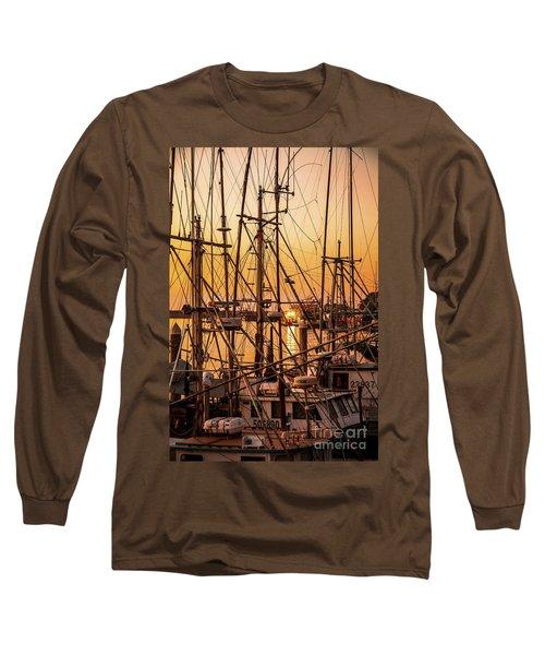 Sunset Boat Masts At Dock Morro Bay Marina Fine Art Photography Print Sale Long Sleeve T-Shirt