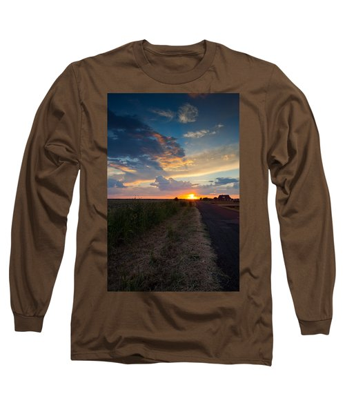 Sunset Down A Country Road Long Sleeve T-Shirt by Mark Alder