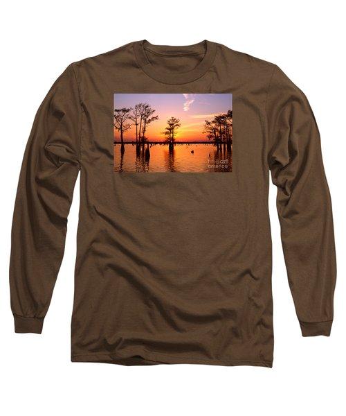 Sunset Lake In Louisiana Long Sleeve T-Shirt