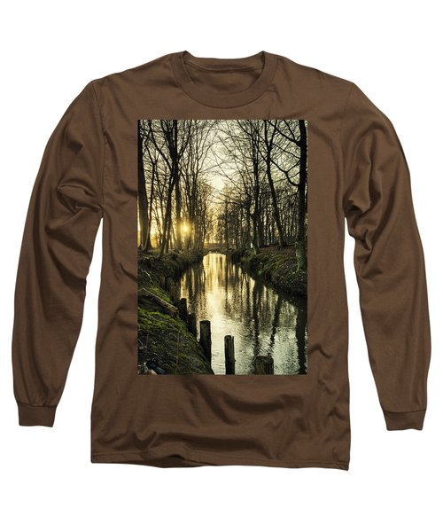 Sunset Over Stream Long Sleeve T-Shirt by Mike Santis