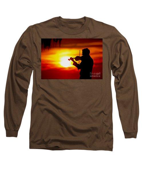 Long Sleeve T-Shirt featuring the photograph Sunset Violin Serenade Louisiana by Luana K Perez